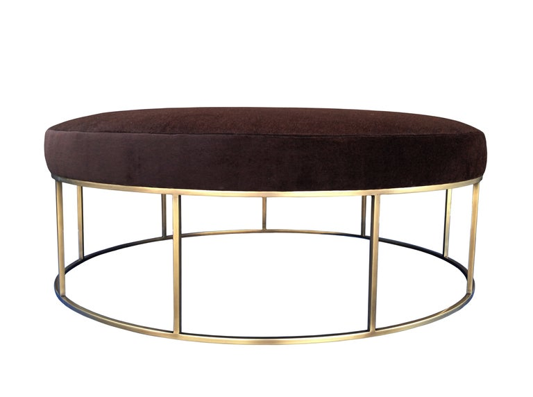 Stunning Custom Designed Round Ottoman with Solid Brass Base For Sale