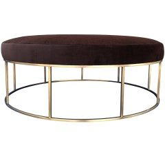 Stunning Custom Designed Round Ottoman with Solid Brass Base