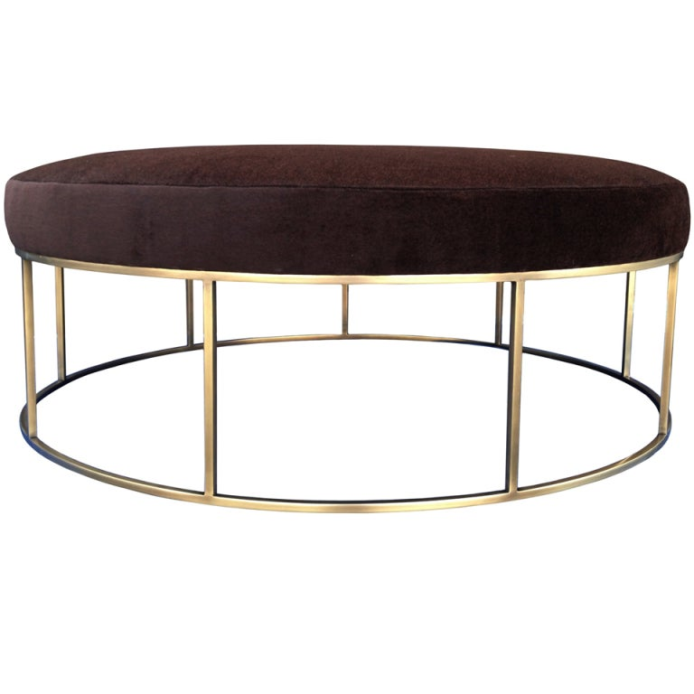 Stunning Custom Designed Round Ottoman With Brass Base At