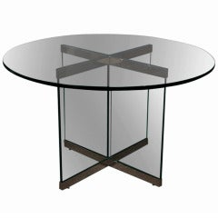Smoked Glass & Chrome Dining Table by Leon Rosen for Pace Collection