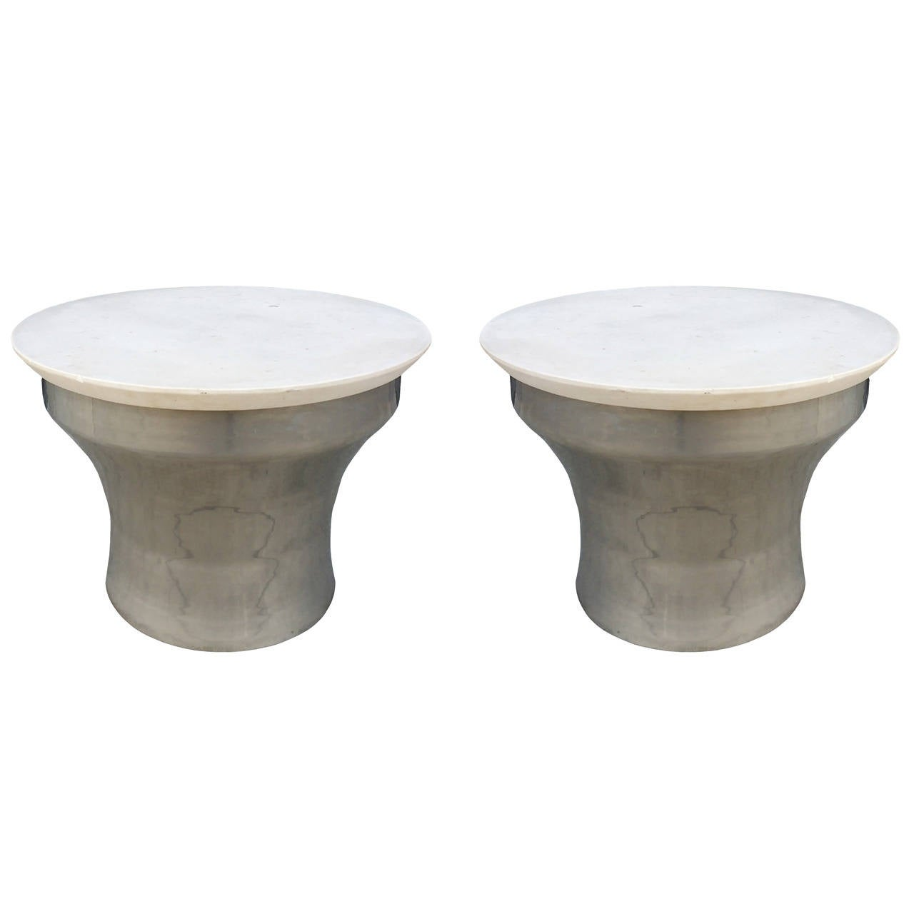 "Karl Springer ""Rain-Drum"" Side Tables in Polished Steel and Marble"