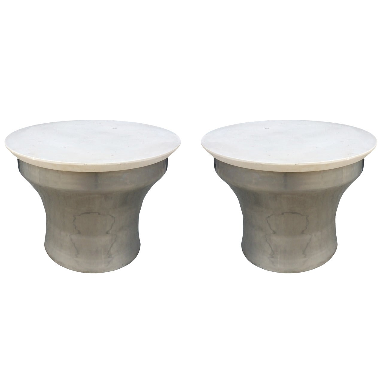 """Karl Springer """"Rain-Drum"""" Side Tables in Polished Steel and Marble"""