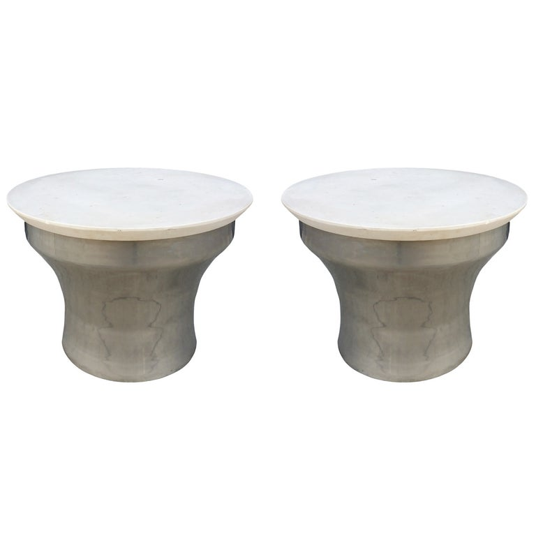 "Karl Springer ""Rain-Drum"" Side Tables in Polished Steel and Marble For Sale"
