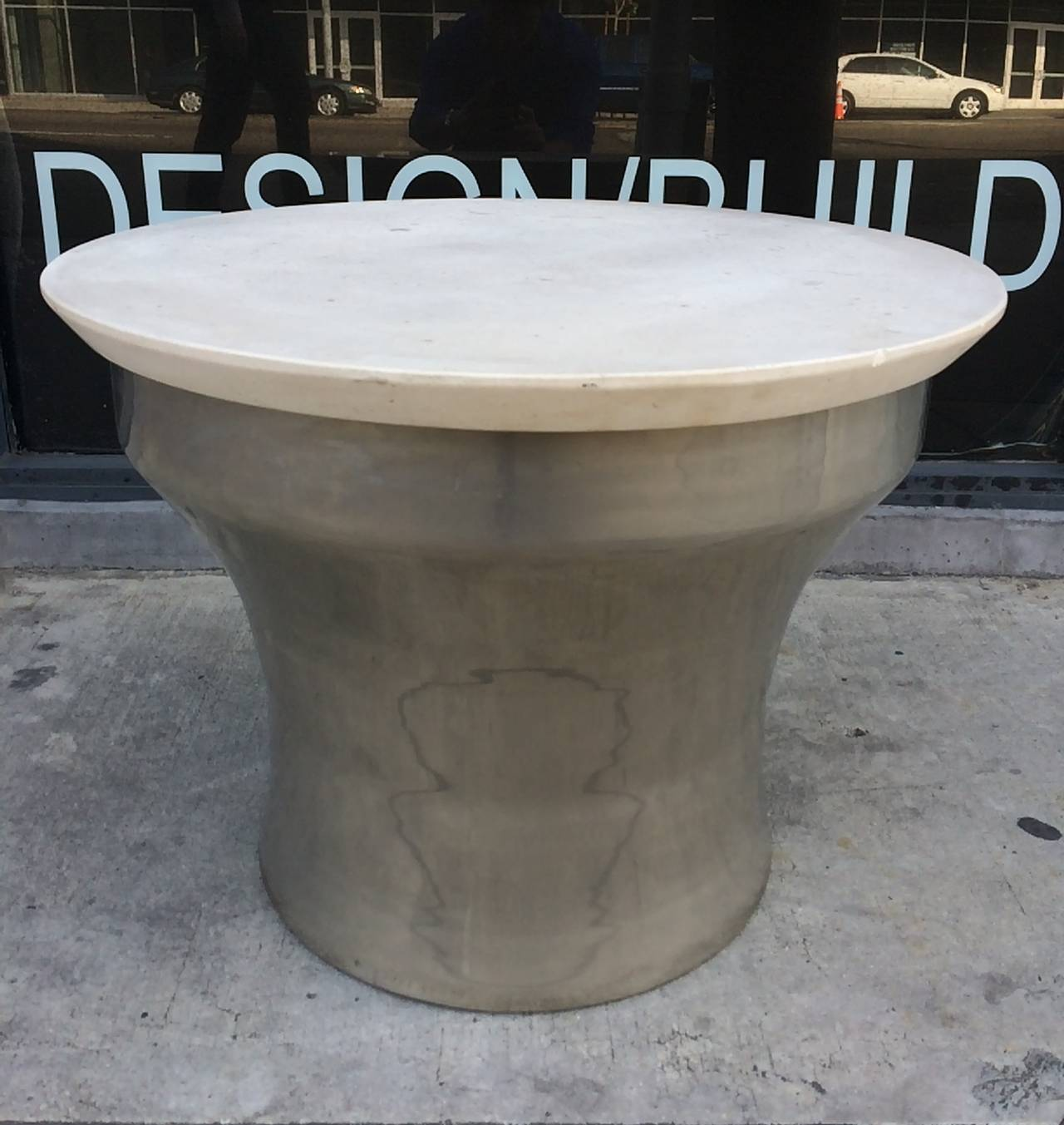Karl Springer Rain Drum Side Tables In Polished Steel And Marble At 1stdibs