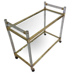 "Charles Hollis Jones Lucite ""Bamboo"" and Brass Serving Cart, Signed and Dated"