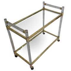 """Charles Hollis Jones Lucite """"Bamboo"""" and Brass Serving Cart, Signed and Dated"""
