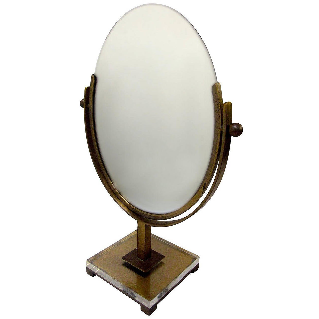 Double Sided Vanity Mirror by Charles Hollis Jones in Brass and Lucite, Signed For Sale