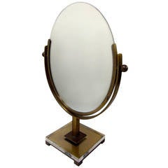 Double Sided Vanity Mirror by Charles Hollis Jones in Brass and Lucite, Signed