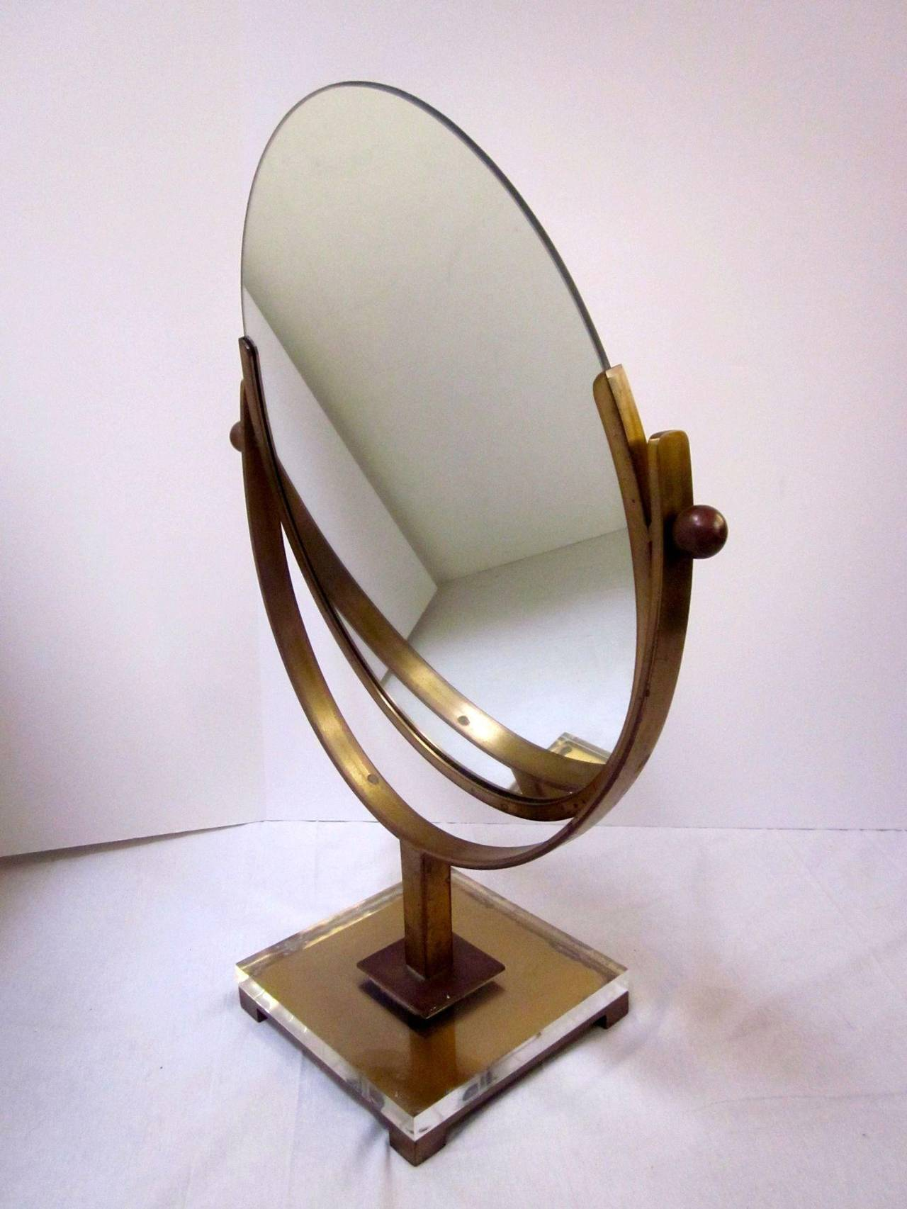 Double Sided Vanity Mirror By Charles Hollis Jones In Brass And