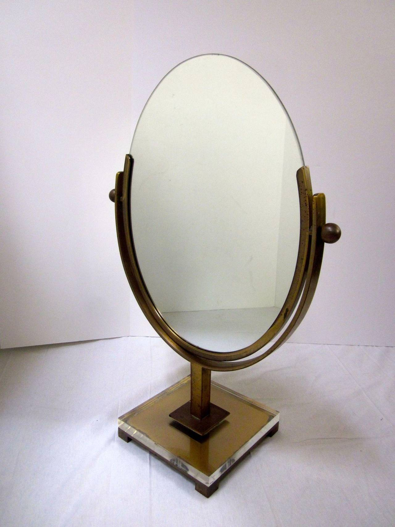 American Double Sided Vanity Mirror by Charles Hollis Jones in Brass and Lucite, Signed For Sale
