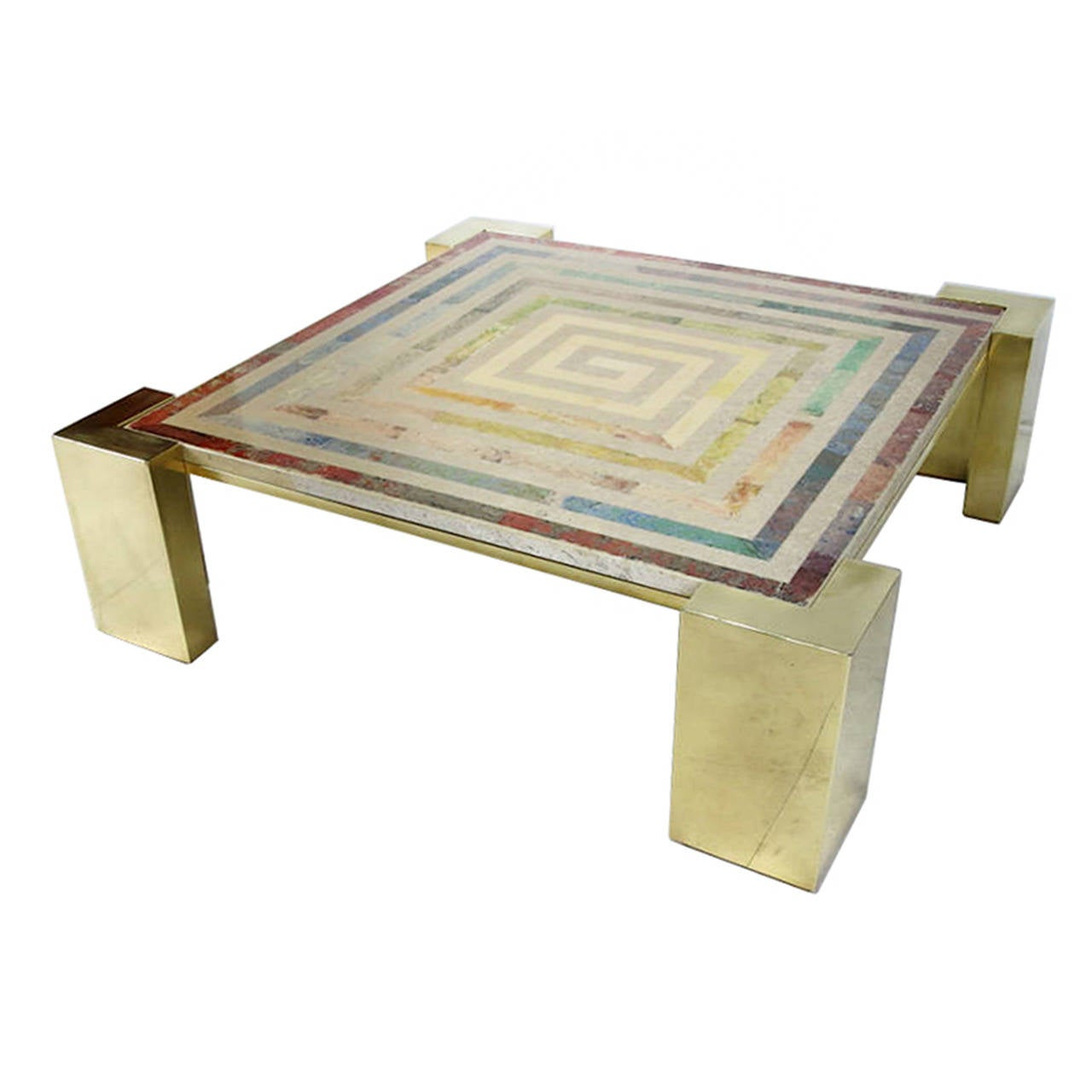 Marquetry Marble Coffee Table: Marble And Brass Coffee Table With A Geometric Inlay For