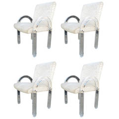"Set of Four ""Waterfall"" Lucite Chairs by Charles Hollis Jones"