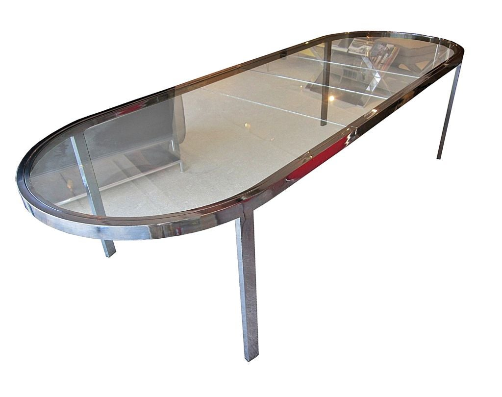 1970s Expandable Chrome and Glass Dining Table and 8  : 881712760327274 from www.1stdibs.com size 1024 x 810 jpeg 55kB