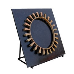 Sunburst Metal Sculpture on a Granite Slab Vintage Bronze