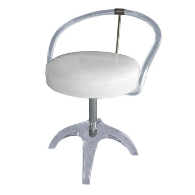 Beau Lucite And Nickel Vanity Swivel Chair By Charles Hollis Jones, Signed And  Dated For Sale