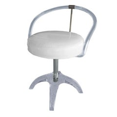 Lucite and Nickel Vanity Swivel Chair by Charles Hollis Jones, Signed and Dated
