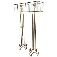 "Pair of Charles Hollis Jones ""Ear-Ring"" Floor Lamps in Brass"