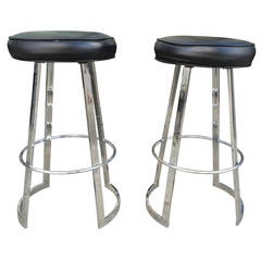"Charles Hollis Jones Pair of ""Mathis"" Barstools in Chrome and Naugahyde, Signed"