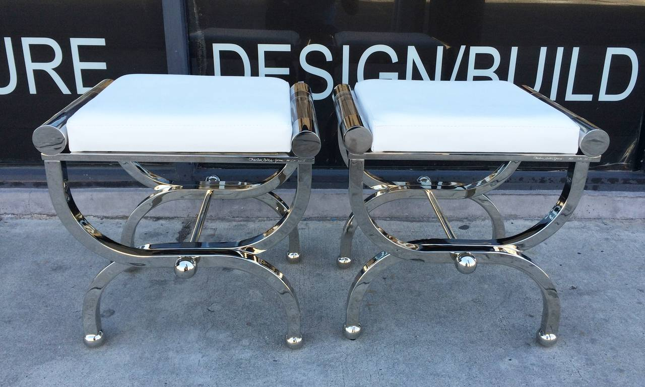 "Charles Hollis Jones ""Empire"" Style Benches in Polished Nickel & Lucite 8"