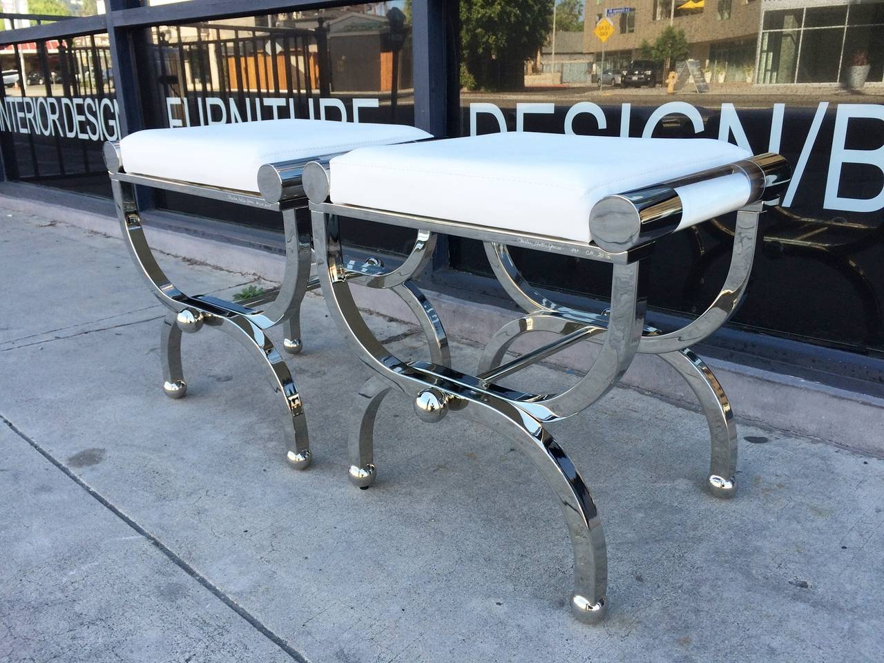 "Mid-Century Modern Charles Hollis Jones ""Empire"" Style Benches in Polished Nickel & Lucite For Sale"