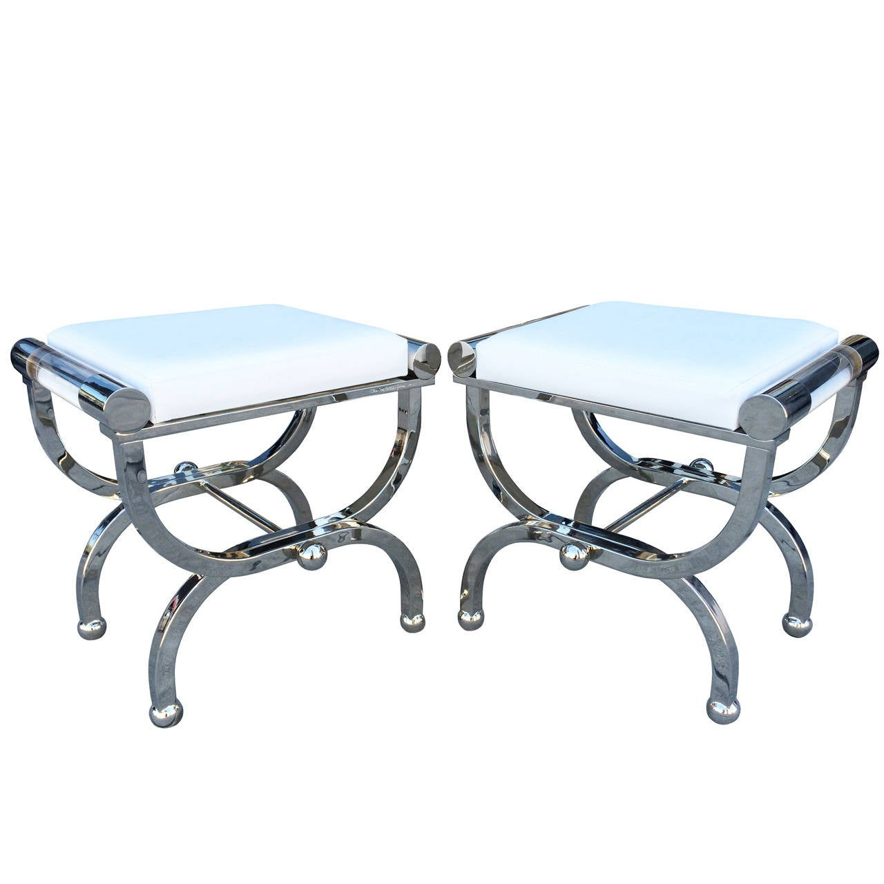 "Charles Hollis Jones ""Empire"" Style Benches in Polished Nickel & Lucite For Sale"