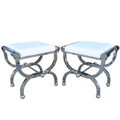 "Charles Hollis Jones ""Empire"" Style Benches in Polished Nickel & Lucite"