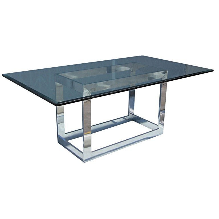 Milo Baughman For Thayer Coggin Chrome And Glass Dining Table At
