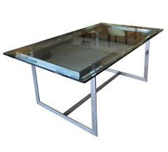 Mid-Century Modern Glass and Chrome Dining Table