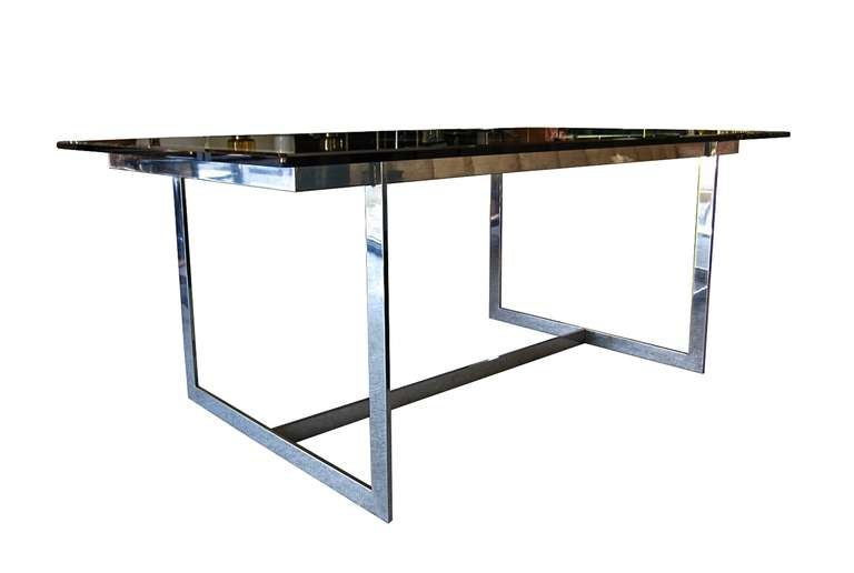 Mid Century Modern Glass And Chrome Dining Table 2