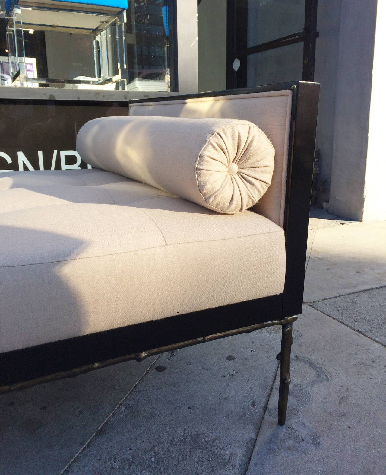 Custom Designed Daybed with Flora Inspired Base in Solid Bronze For Sale 4