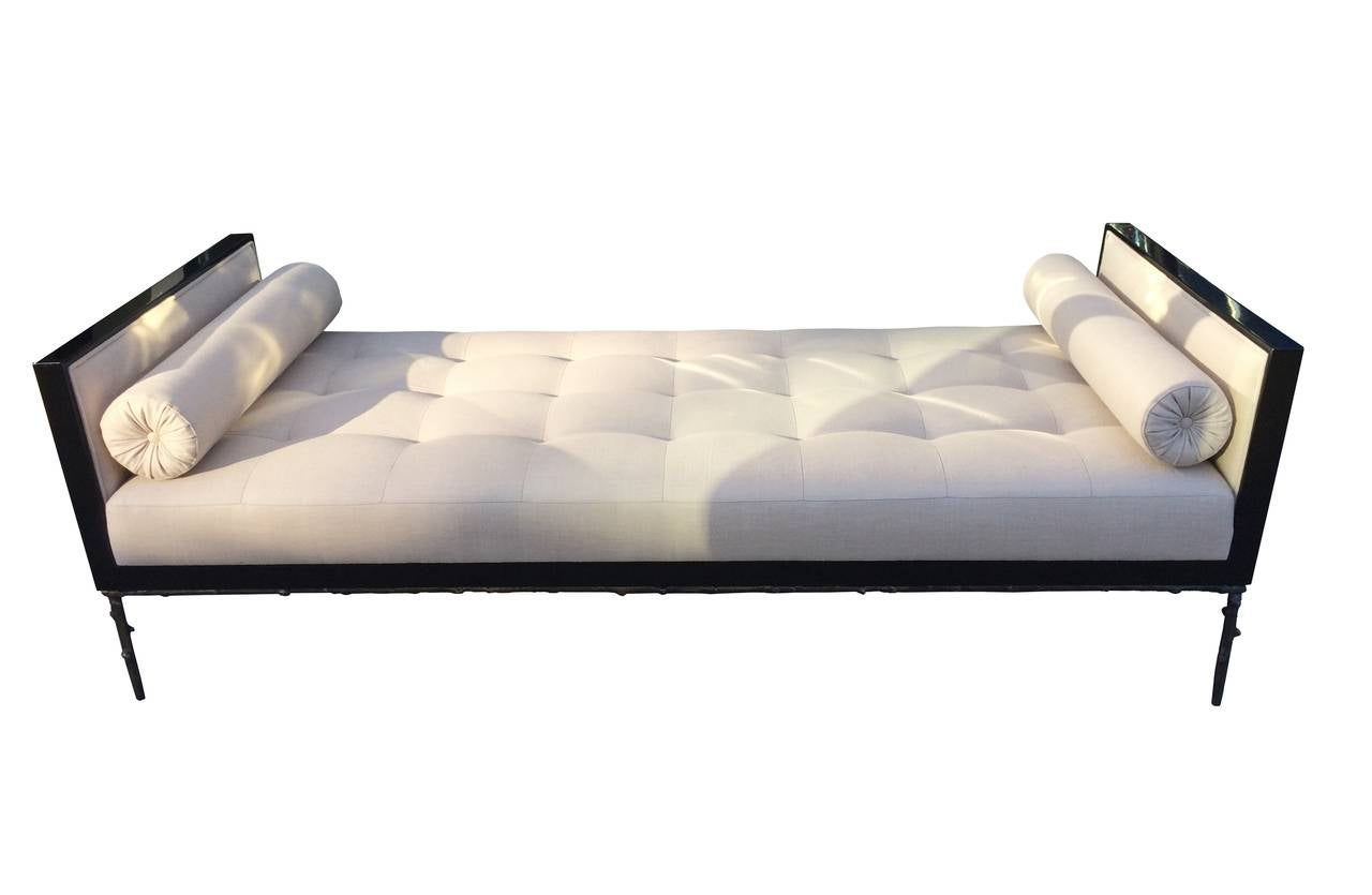 Custom Designed Daybed with Flora Inspired Base in Solid Bronze For Sale 1
