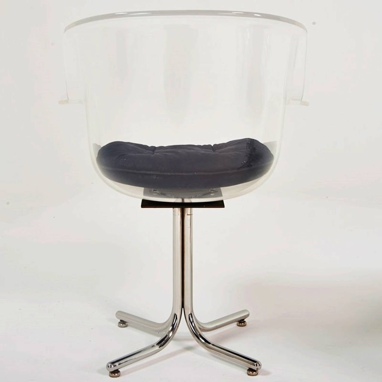 Mid-Century Modern Set of Six Lucite and Chrome Chairs by Leon Rosen for Pace Collection For Sale