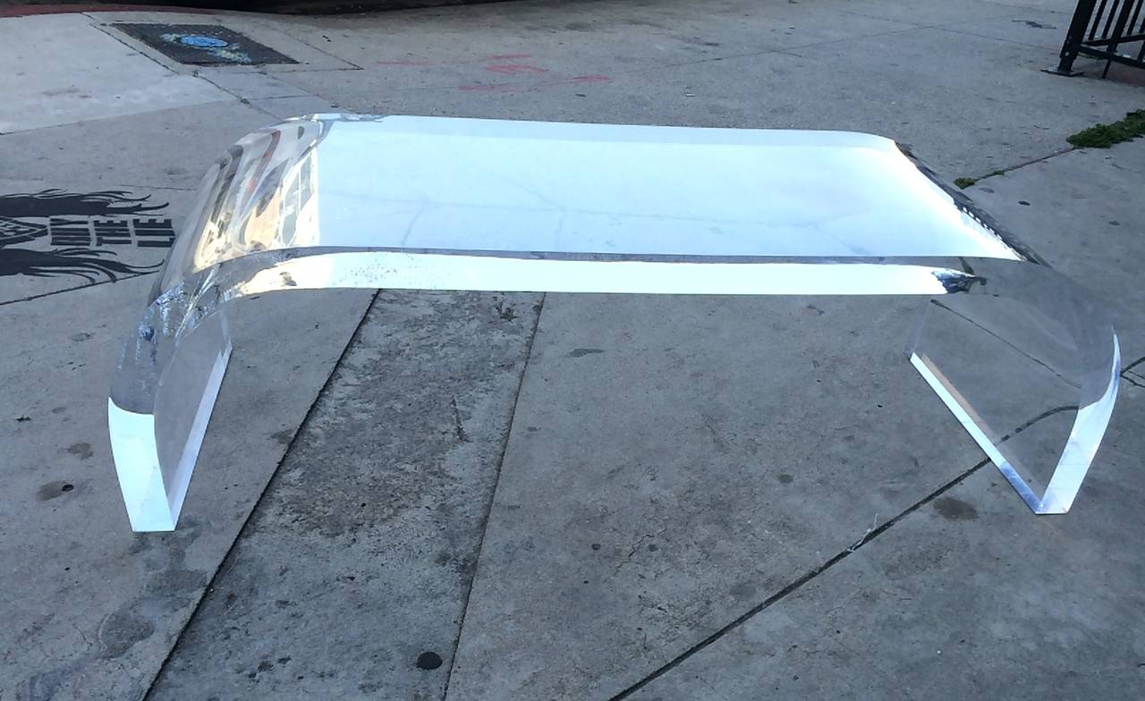 Waterfall lucite coffee table for sale at 1stdibs for Acrylic coffee tables for sale