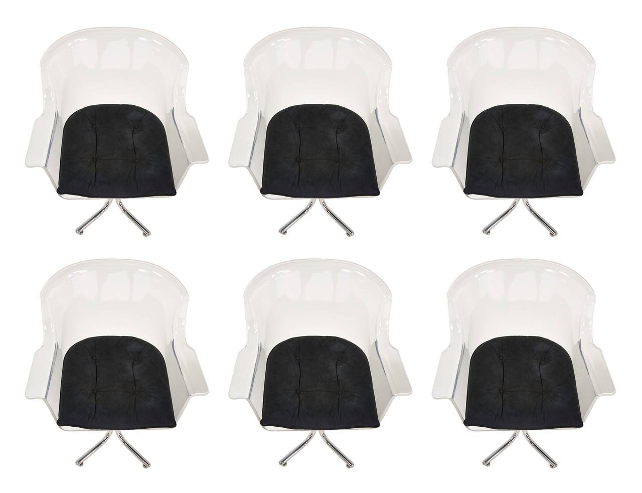 Fantastic set of six armchairs in Lucite and chrome designed by Leon Rosen and manufactured for Pace collection. The chairs have beautiful lines, the Lucite and chrome show well, the suede seats are in good condition and they may need to be