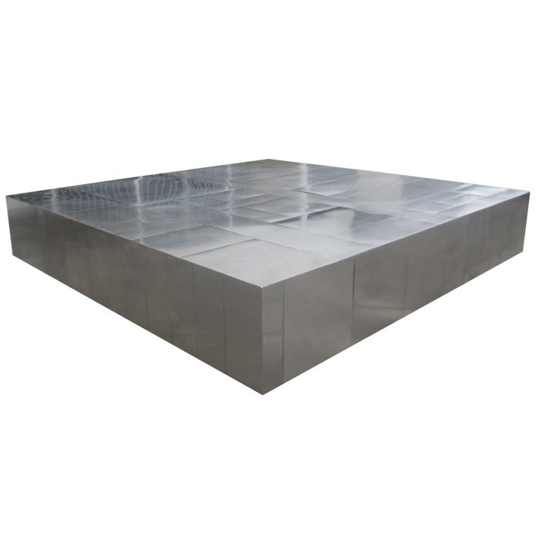 Brushed Aluminum Coffee Table: Paul Evans Cityscape Brushed And Polished Steel Coffee