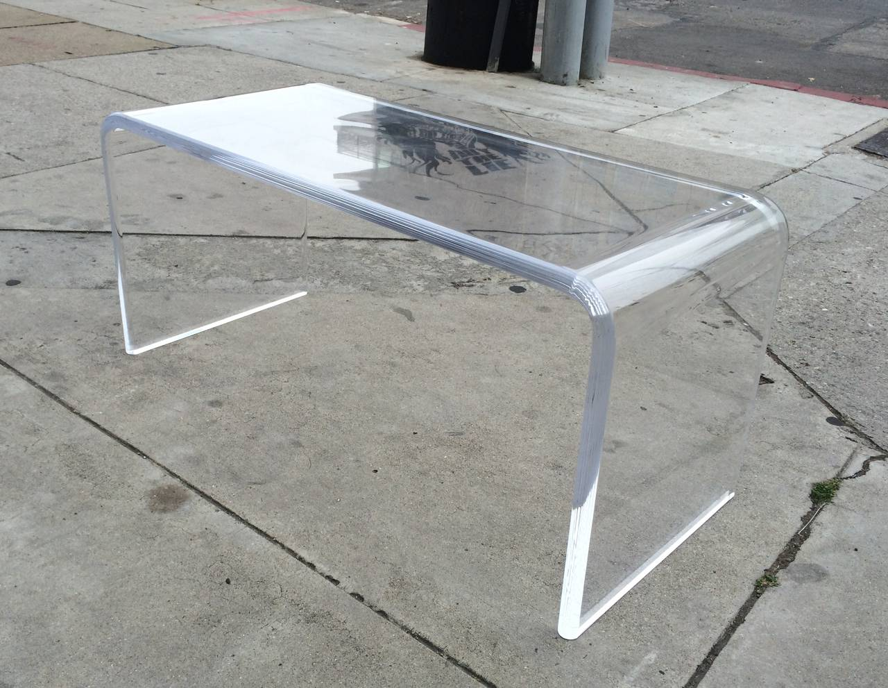 Lucite Waterfall Coffee Table With Bullnose Edges By Charles Hollis Jones At 1stdibs