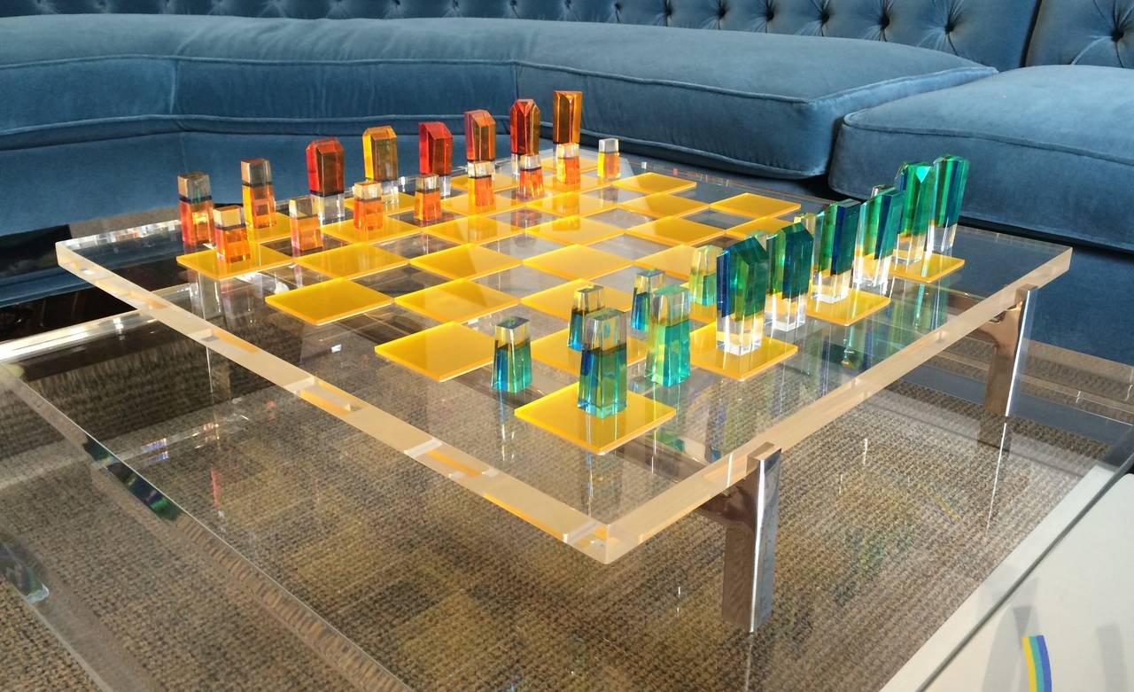 Stunning chess set designed by the Lucite master, Charles Hollis Jones.