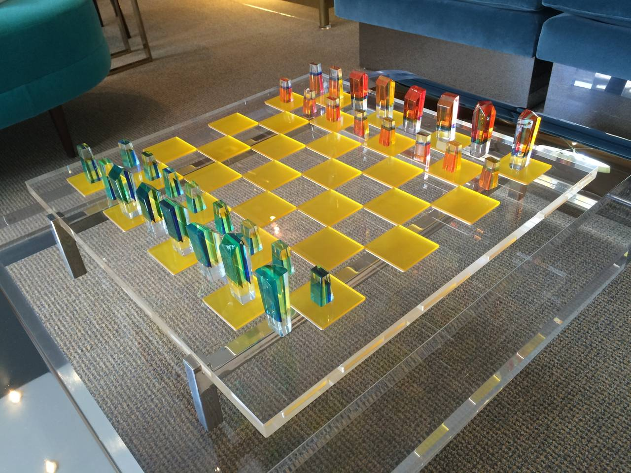 Mid-Century Modern Charles Hollis Jones Lucite Chess Set with Original Nickel Base and Box, Signed For Sale