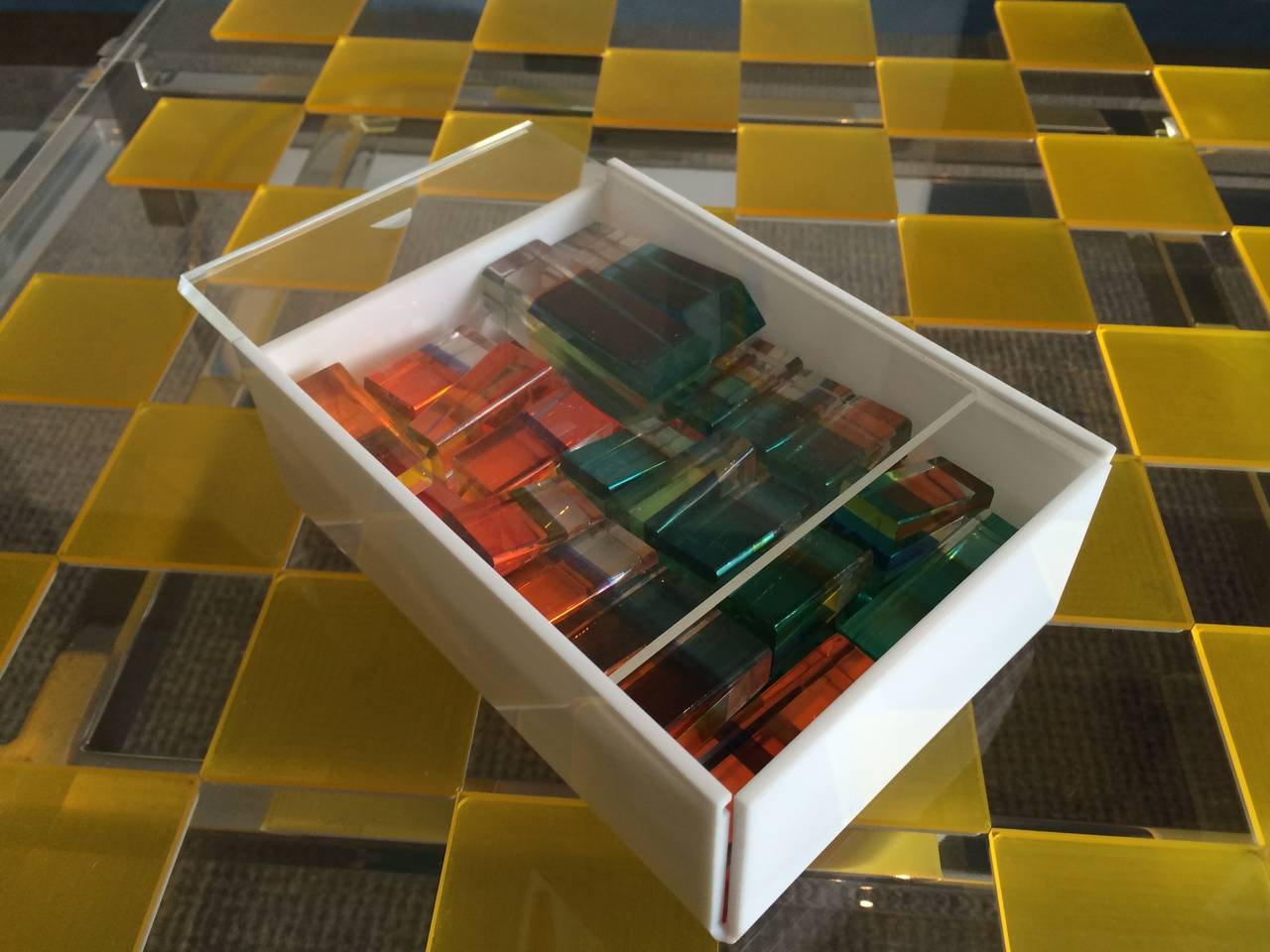 Charles Hollis Jones Lucite Chess Set with Original Nickel Base and Box, Signed For Sale 3