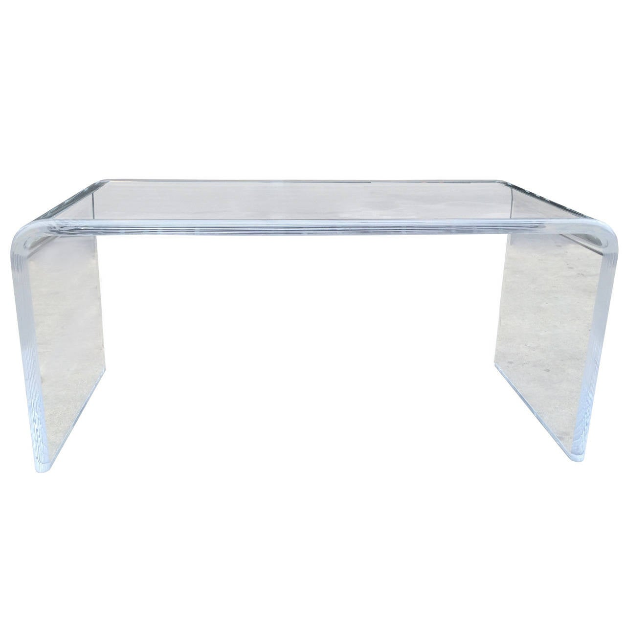 Lucite Waterfall Coffee Table with Bullnose Edges by Charles