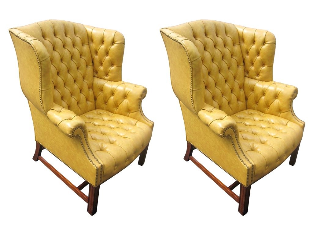 Mid Century Modern Pair Of Tufted Wingback Chairs By Drexel For Sale