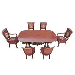 One of a Kind French Empire, Gold Gilded Starburst Dining Suite