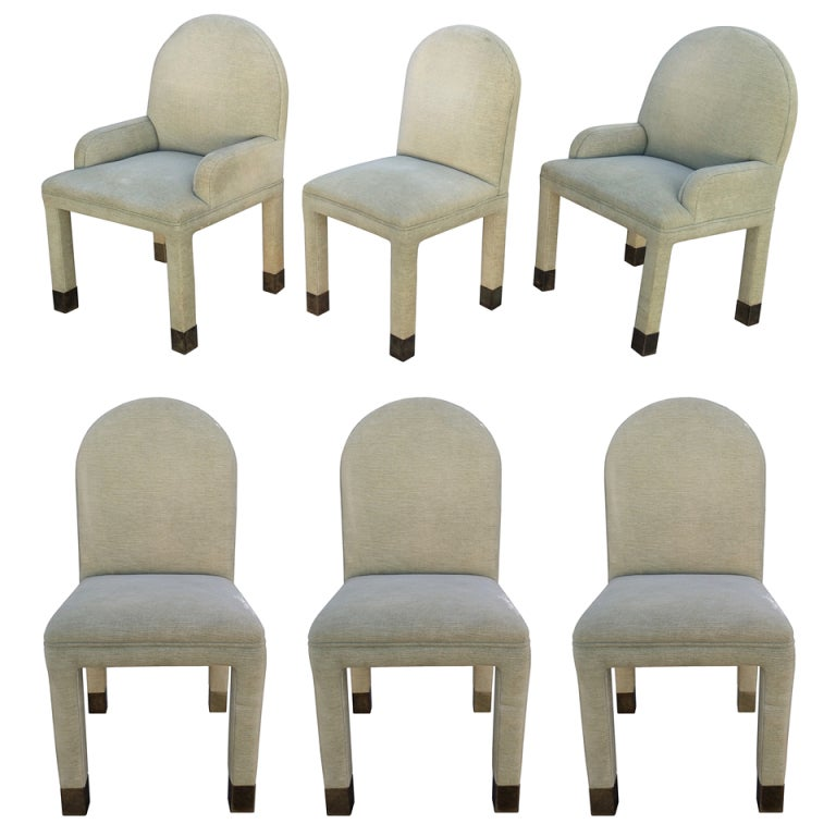 Beautiful Set Of Eight Dining Chairs With Brass Sabots At