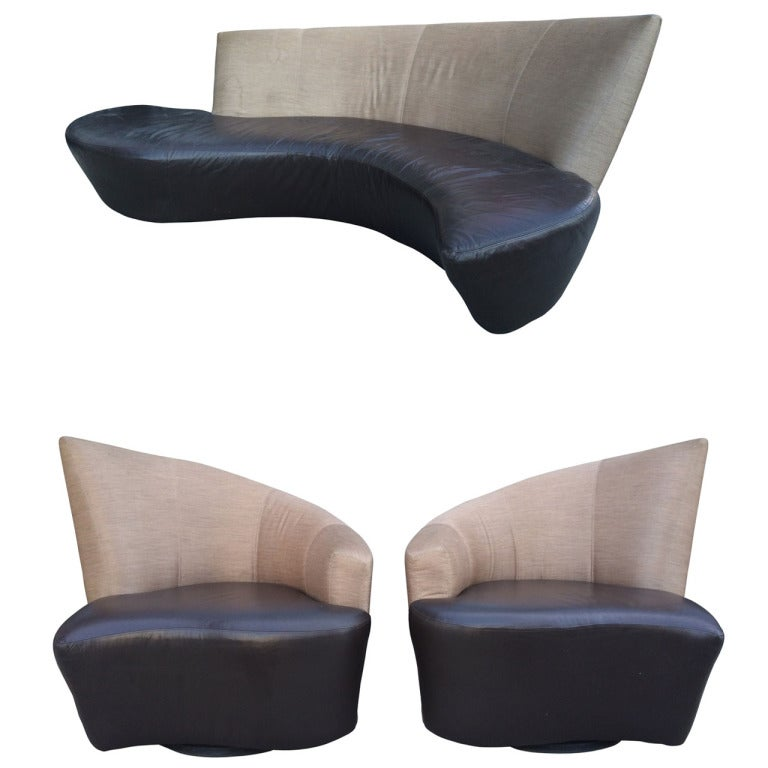 Vladimir Kagan Quot Bilbao Quot Living Room Set In Leather And