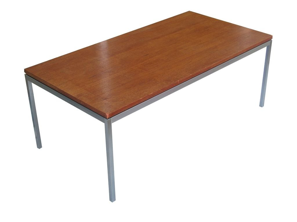 Florence knoll wood and solid steel coffee table usa 1950s at 1stdibs Florence knoll coffee table
