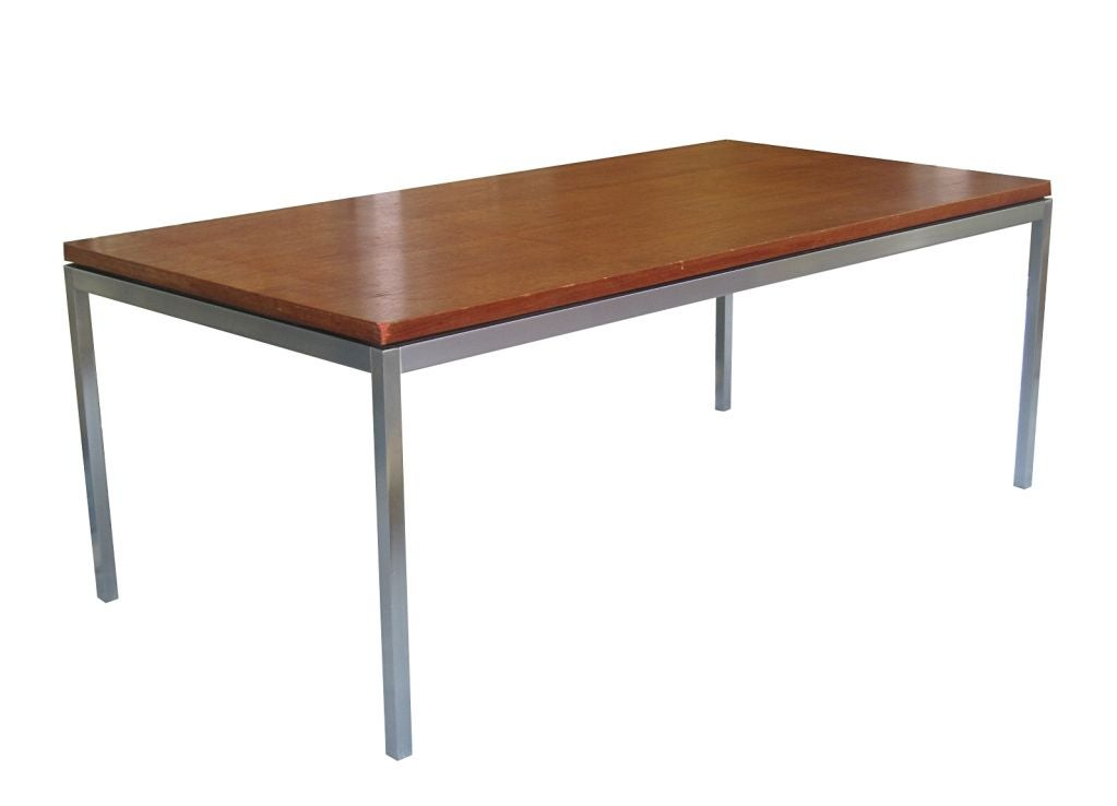 florence knoll wood and solid steel coffee table usa 1950s for sale at 1stdibs. Black Bedroom Furniture Sets. Home Design Ideas