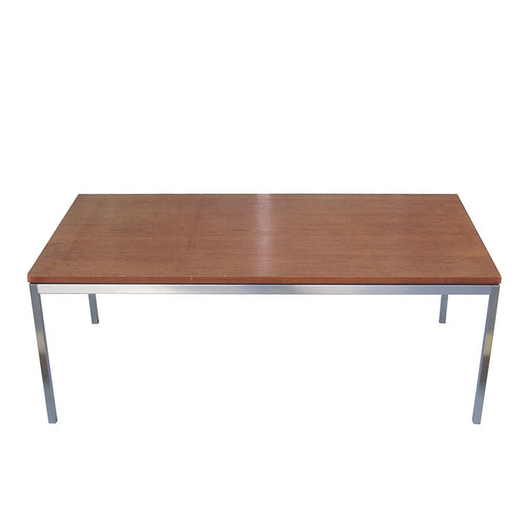 Florence knoll wood and solid steel coffee table usa Florence knoll coffee table