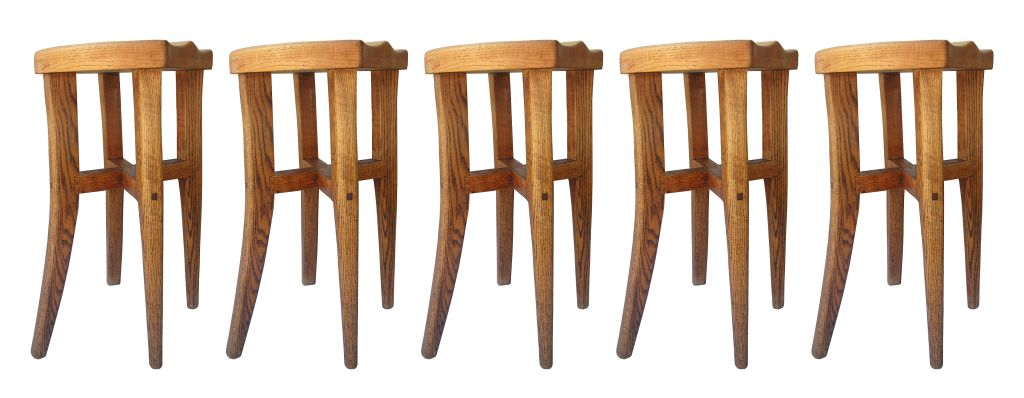 Beautiful set of five stools designed and handmade by Victor DiNovi from Santa Barbara California in 1978. These stools have beautiful architectural lines and they are very sturdy. The stools are hand signed and dated by the artist, DiNovi is been