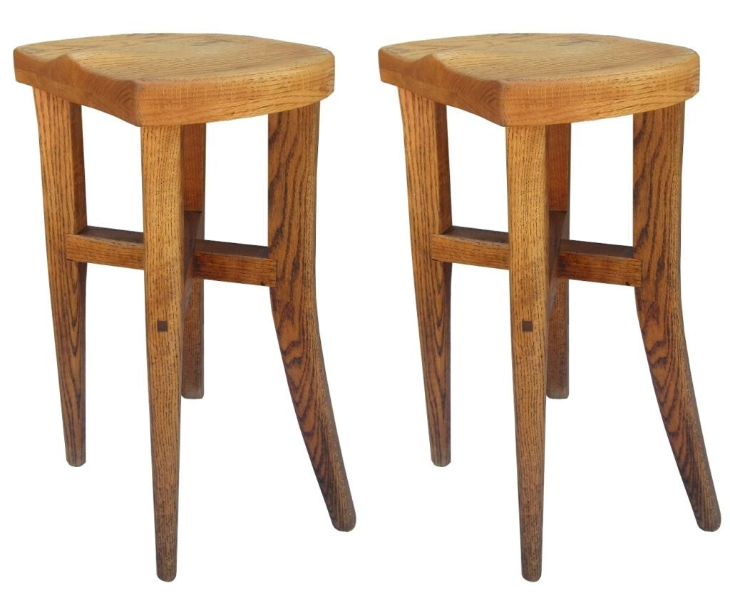 Hand-Crafted Five Victor DiNovi Oak Sculptural Stools, USA, 1970s For Sale