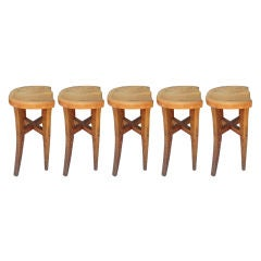 Five Victor DiNovi Oak Sculptural Stools, USA, 1970s